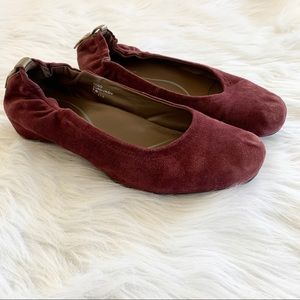 Earthies Burgundy Red Suede Tolo Ballet Flats